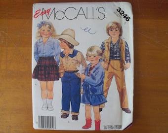 McCall's 3246 Children's Unlined Jacket Vest Shirt Skirt & Pants Size 5 pattern