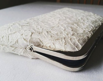 Up-cycled Ivory Silk Dupion and Vintage Lace Clutch Purse