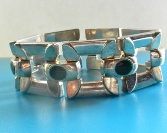 Amazing massive links square & dark green enamel bracelet - solid 800 silver  Italian bracelet  by collection -  Art.95/4  -