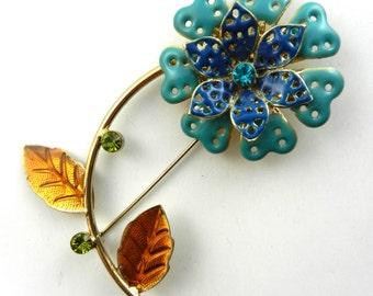 1960s Vintage FLOWER POWER deep Blue & Turquoise Enamel - flower dahlia Brooch/Pin with rhinestones -- art.384/4 -