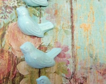 4 Bird Knobs Cast Iron Aqua Cottage Chic