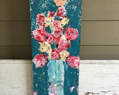 Flowers, abstract flower painting, 12 x 36 gallery wrapped canvas, blues and reds, bird