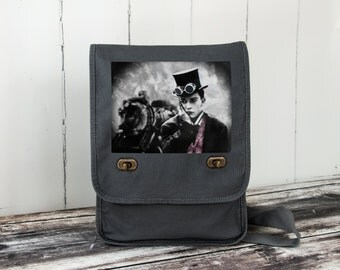 Buster's Steam Engine - Field Bag - School Bag - Smoke Gray - Canvas Bag - Steampunked Silents Collection