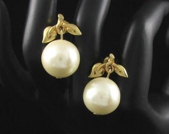 Avon Faux Pearl Earrings, Leaf Earrings, Avon Earrings, Pearly Elegance, Cherry Earrings