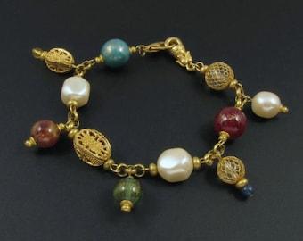 Tribal Beaded Bracelet, Boho Bracelet, Colorful Bracelet, Dangle Bracelet, Gold Bracelet, Liz Claiborne Bracelet