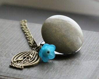 Round locket necklace , gold locket necklace, locket with flower , locket with birdcage , vintage style locket necklace , bird locket - Elle