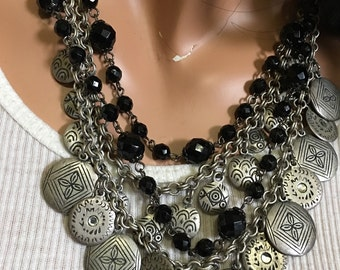 SALE NOW WAS 35 Now25Brushed Silver Coins and Black Cut Bead Necklace