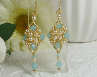 Woven Dangle Earrings with Swarovski Crystal Pacific Opal