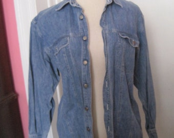 Gap Denim Jean Shirt Size L Large Cotton