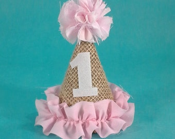 Party hat, mini burlap birthday party hat, pink H311, burlap, mini party hat, first birthday photo prop