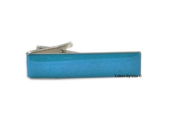 Turquoise Blue Tie Clip Hand Painted Glossy Enamel Classic Tie Bar Accent Assorted Colors and Personalization Available