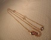 Long Vintage Crystal Necklace-Crystal Jewelry-Vintage Jewelry-Vintage Necklace-Crystal-Long Gold Necklace-Gold Tone-Roadsidebridge