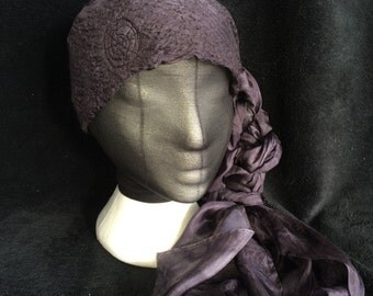Spiral stitched grey and charcoal black silk triangle scarf/head wrap, bandana, turban