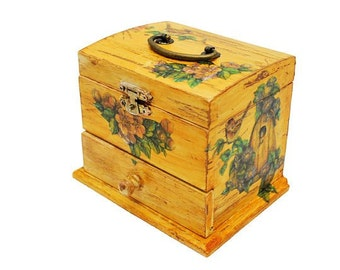 Unique Sewing Box Mini - Yellow Shabby with bird house decoupage