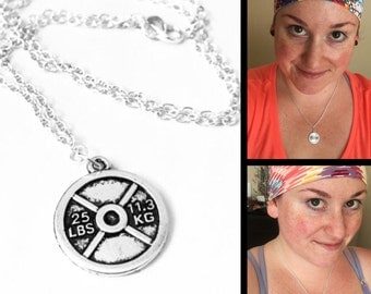 Weightlifting Jewelry Fitness Necklace, Fitness Jewelry, Weightlifting Gift, Fitness Gifts Weight Plate Necklace, Exercise Lift Necklace