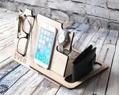Personalised Docking Station - Father / Dad's gift - Bedside or desk organisation -