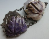 Mexican Carved Amethyst Sterling Silver Bracelet