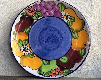 """Vintage Talavera 9-1/2"""" plate signed Castillo ceramic Mexican Majolica pottery decorative wall hanging plate for Frida Mexican kitchen"""