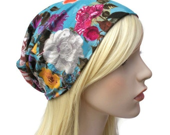 Blue Floral Beanie with Colorful Flowers , Slouchy Hat, Teenage Girl Gifts, Cute Beanie, Lightweight Beanie, Slouchy Beanie, Womens Beanie
