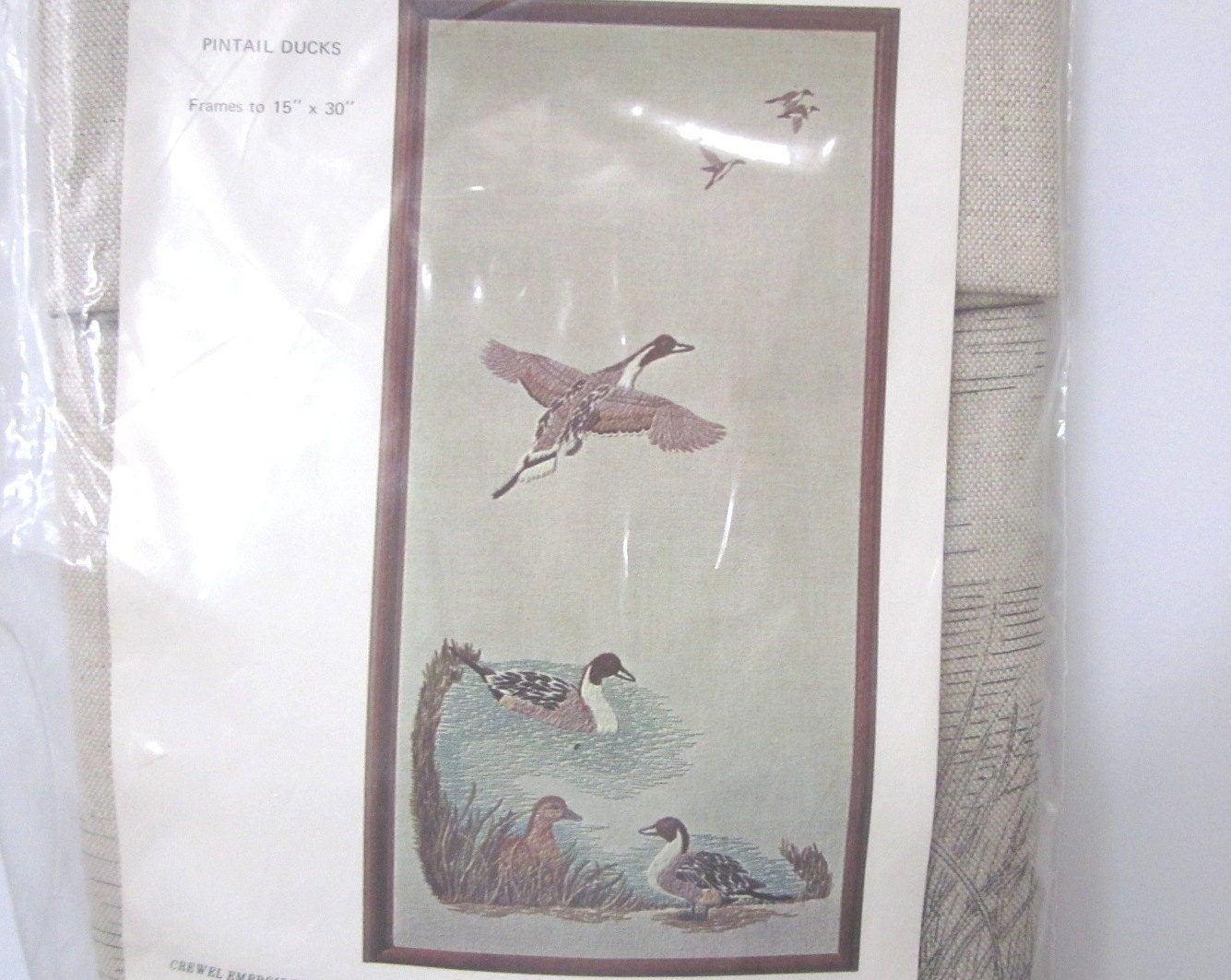 Wonderful pintail ducks crewel embroidery kit blanche