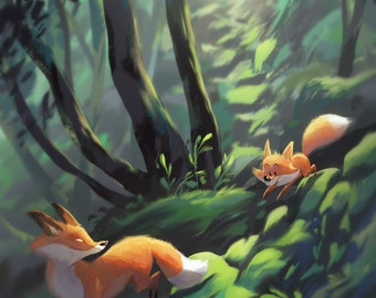 Fox Forest | Fine Art Print | Foxes in Lush Green Forest, Perfect for Nursery, Child's Room Art | Flimflammery