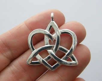 BULK 20 Celtic knot heart charms silver plated R92