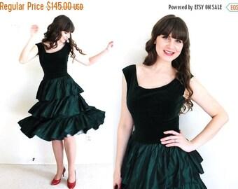 ON SALE 50s Party Dress / 1950s Dress / 50s Green Velvet Holiday Party Dress