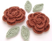 "Rust Brown 1-3/4"" Crochet Rose Flower Embellishments w/ Leaves Handmade Scrapbooking Fashion Accessories Appliques - 6 pcs. (3530-02L)"
