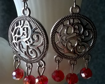 Dangle Red Crystal Earrings , Mothers Day Gift