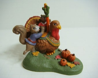 Thanksgiving Figurine - Turkey and Squirrels Kathy Jeffers