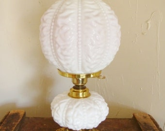 Fenton Peach Blow Beaded Drapery Double Globe Lamp Electric Table or Parlor Lamp