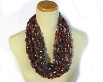 Partiotic Scarf, Knit Cowl, Gift For Her, Red White Blue Scarf, Necklace Scarf, Spring Scarf, Fiber Art