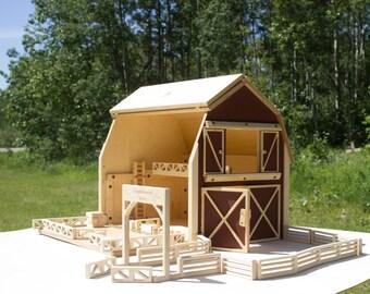 Big Red Barn - Farm Toy Set - Large Barn Set - Barn - Play Barn - Wood Barn - Handmade Toy - Kids Barn -  Waldorf Barn -  Wooden Toy Barn