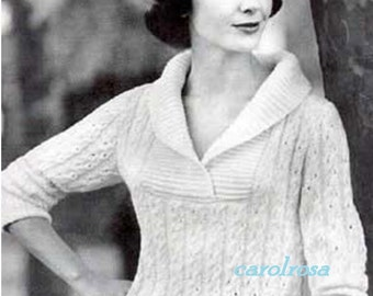 Knitting Pattern - Ladies Shawl Collar Sweater/Jumper - PDF download - Sizes 12,14,16 and 18