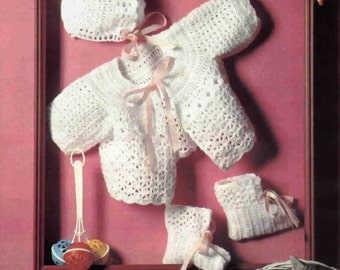 Crochet Pattern Baby Jacket, Bonnet and Booties - Instant download PDF