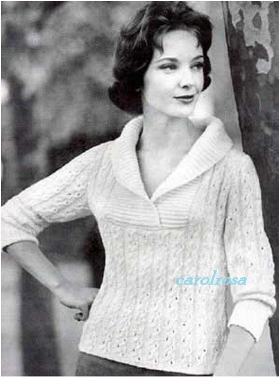 Knitting Pattern Ladies Shawl Collar Sweater/Jumper PDF