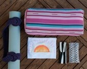 FREE SHIPPING | Yoga Practice Package | Bolster, Mat Strap, T-shirt or Tank Top, Headband, Eye Pillow | Yoga Accessories, Yoga Apparel