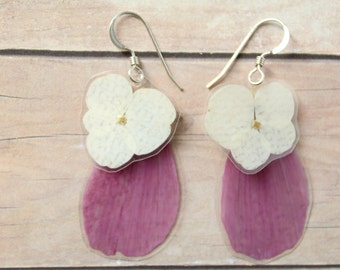 Layered Purple Daisy Petal Earrings - White Hydrangea Earrings - Real Pressed Flower Jewelry - Sterling Silver - Bridesmaids Jewelry Gifts