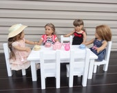 White American doll table and 6 chairs in custom color paint of your choice