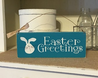 Easter Sign, Easter Greetings, Easter Decoration,Door Hanger,Rustic Decor,Primitive Decor,Rabbit Sign
