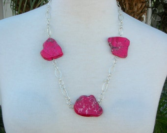 "Shorter Red Magnesite Slabs on Silver Chain, Optional Red Coral Earrings, 24"" Necklace by Sandra Designs"