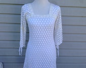 White Crochet Lace 1960s Peasant Dress Size Small