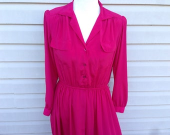 Magenta Pink Day Dress with pockets, size medium large