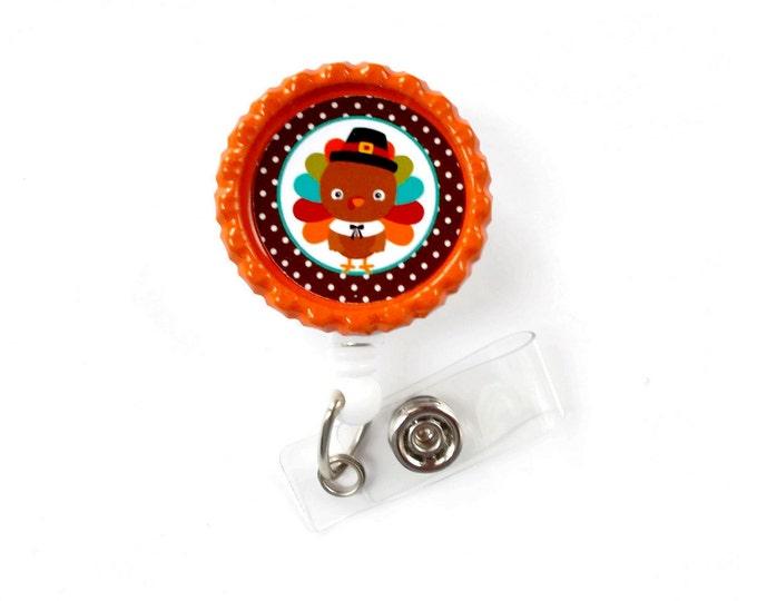 Colorful Turkey- Nursing Badge Holder - Nurse Badge Reel  - Name Badge - Teacher Badge Reel - Nurses Badge - Thanksgiving Badge - RH