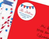 4th of July Address Labels / USA Bunting Address Labels - Sheet of 24