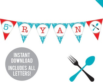 INSTANT DOWNLOAD Cooking Party - DIY printable pennant banner - Includes all letters, plus ages 1-18