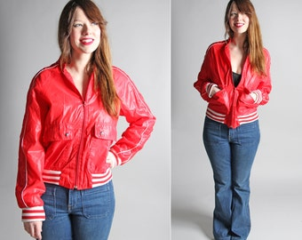 Vintage Classic Red and White Track Jacket - Althletic Jock 1980's Sporty Casual Sport Bomber Coat Top Outerwear- Size Medium or Men's Small