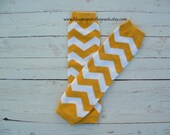Gold and White Chevron Baby Leg Warmers