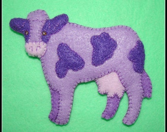PURPLE COW ORNAMENT-Magnet Combo-handmade felt embroidered-great gift idea.
