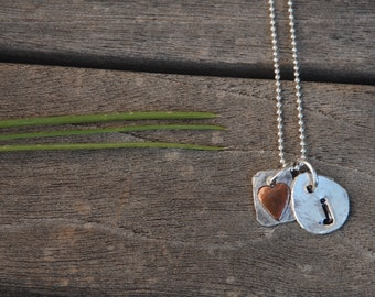 Sterling Silver INITIAL necklace Two Charms one with Copper Heart and other Recycled sterling pebble with Initial on Sterling ball chain